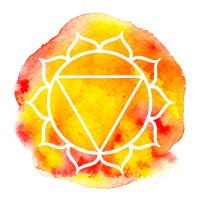 Manipura chakra. Watercolor vector illustration isolated on white
